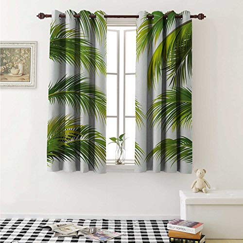 (shenglv Palm Leaf Customized Curtains Vivid Palm Leaves Growth Jungle Lush Foliage Summer Forest Botany Curtains for Kitchen Windows W63 x L45 Inch Green Lime Green White )