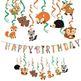 Animal Swirl Decorations Woodland Birthday Party Supplies Kit + Forest Animal Birthday Banner for Kids