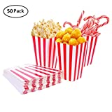 50pcs Popcorn Boxes Bags Cardboard Candy Container for Christmas Party Snacks, Sweets, Popcorn and Gifts