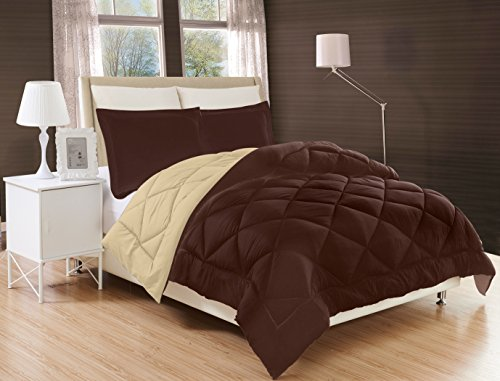 Elegant Comfort All Season Comforter and Year Round Medium Weight Super Soft Down Alternative Reversible 3-Piece Comforter Set, Full/Queen, Chocolate Brown/Cream