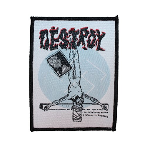 Destroy Inverted Cross Patch Anarchy Crust Punk Band Music Woven Sew On Applique (Anarchy Cross)