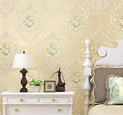 Textured European Floral Damask Wallpaper Bedroom Living