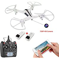 WINGLESCOUT WIFI Quadcopter with 720P Detachable Camera FPV Live Video 5.8GHz RC Drone with Optical Flow and Gravity Control 17mins Flight Time 2 Batteries