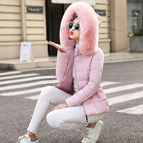 Winter Coton Coats Hiver Slim Fourrure Outwear Court Épais Manteu Parka En Veste Chaude À Capuche Fausse Chaud Rose Collier 66HqwA