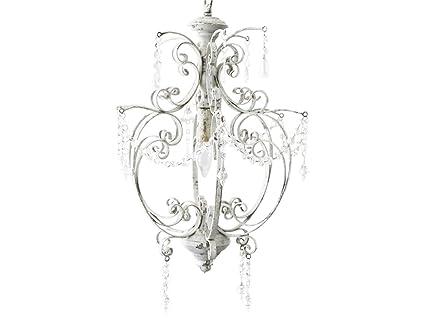 Chic Antique Lampe Hängelampe Deckenlampe Kronleuchter Weiß In Handarbeit  Gefertigt Shabby Landhaus Nostalgie