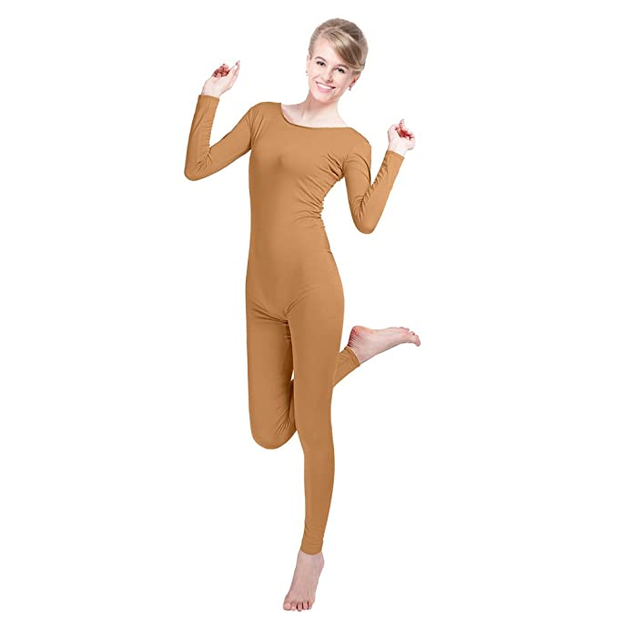 aec7c23de4 Amazon.com  CUTECATCOS Stock Unisex Lycra Spandex Unitard Scoop Neck Long  Sleeves Footless Bodysuit Costume  Clothing