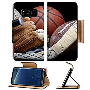 Luxlady Premium Samsung Galaxy S8 Plus S8+ Flip Pu Leather Wallet Case IMAGE ID 6832161 Close up shot of old soccer ball basketball baseball football bat hockey stick baseball glove and cleats