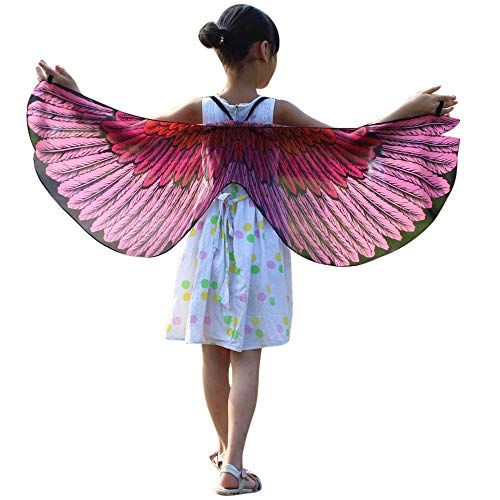 POQOQ Party Prop Soft Fabric Butterfly Wings Shawl Fairy Ladies Nymph Pixie Costume Accessory 11848CM Pink
