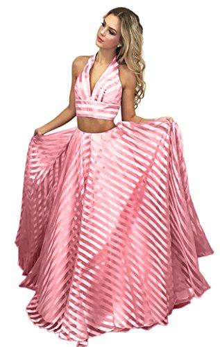 Dressylady 2018 Backless Red Long Prom Dress A Striped Line Watermelon Two Piece Organza Halter RrdfFqRw