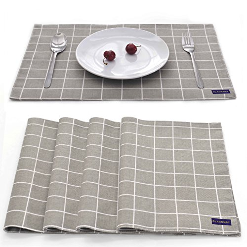EJIAS Fabric Placemats Table Mats – Set of 4 Classical Checked Washable cloth Place Mats for Dining Room Water Resistant Heat resistant cloth Table Mats for Kitchen Room 18X12 Inch (Grey Check)