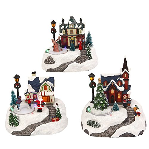 The Gerson Company Animated Holiday Winter Snow Village Town Set Christmas Scenes Light Up (Light Up Costumes Couples)