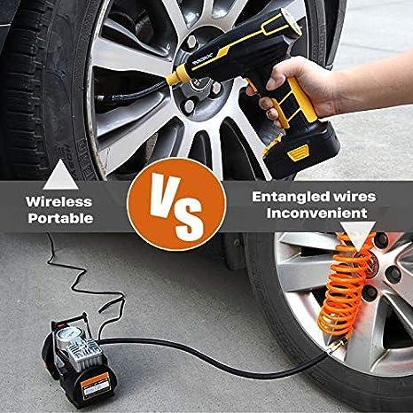 Rocboc Us Version Auto Luftpumpe Elektrischer Kompressor Mit Akku 12v Luftkompressor Tragbare Reifenpumpe Mit Lcd Display Digital Manometer Ink Wiederaufladbare Beleuchtungssockel Auto
