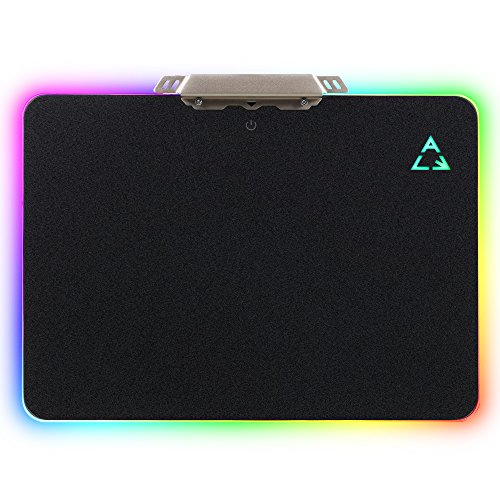 LED Lighting Hard Gaming Mouse Pad, RGB Colorful Computer Notebook Mac Mice Mat – Black