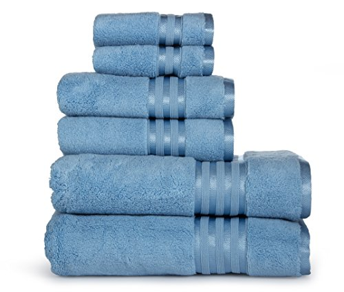 Casa Lino -Premium Quality Zero Twist, Air Soft, 6 Piece Towel Set, 2 Bath Towels, 2 Hand Towels 2 Washcloths, Machine Washable, Hotel Quality, Towel Gift Set- Dove Cotton Collection (Electric Blue)