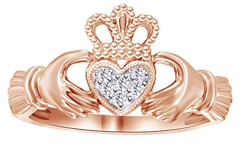 White Natural Diamond Accent Claddagh Ring In 10k Rose Gold (0.03 Cttw)