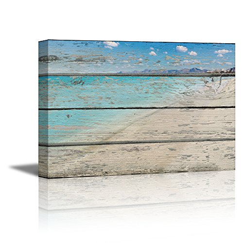 wall26 - Canvas Prints Wall Art - Tropical Beach on Vintage Wood Background Rustic Home Decoration - 16