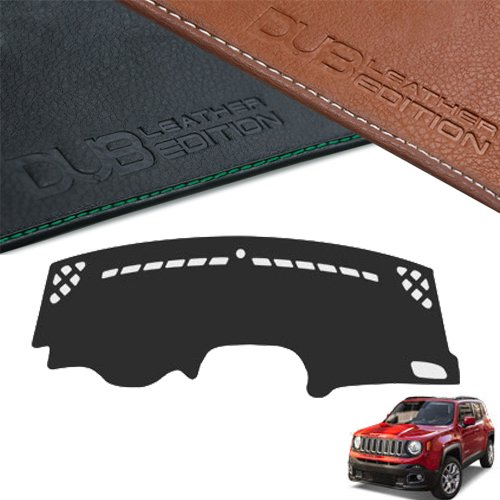 DUB Custom Made Leather Edition Premium Dashboard Cover For Jeep Renegade 2015 2016 2017 (Black Leather)