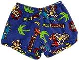 Made with Love & Kisses Super Soft Novelty Print Plush Shorts (10/12, Royal Blue Cool Monkey)