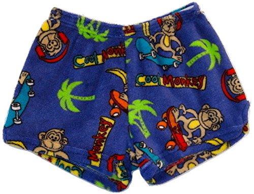 (Made with Love & Kisses Super Soft Novelty Print Plush Shorts (10/12, Royal Blue Cool Monkey))