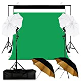 6.5x10FT Umbrella Continuous Lighting Studio Background Support System Kit with 3 Colors Muslin Backdrops, 2x45W Energy Saving Photo Bulb,2x Light Stands,4x Umbrellas,2x Clamps