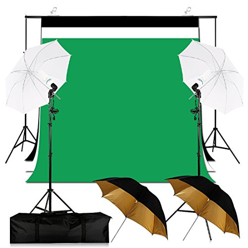 6.5x10FT Umbrella Continuous Lighting Studio Background Support System Kit with 3 Colors Muslin Backdrops, 2x45W Energy Saving Photo Bulb,2x Light Stands,4x Umbrellas,2x Clamps by Konseen