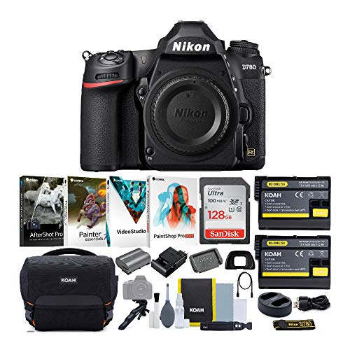 Nikon D780 24.5MP FX-Format DSLR Camera Body with 128GB SD Card and Accessory Bundle (5 Items)