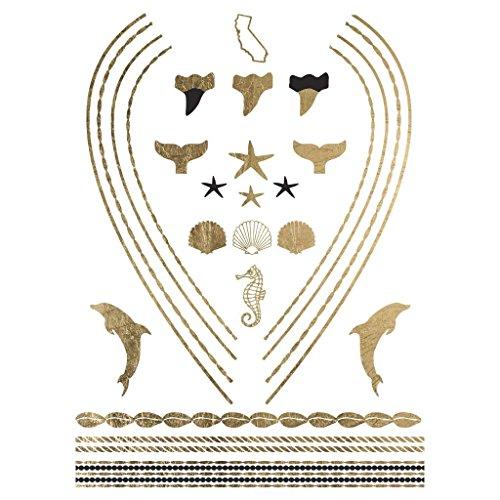 Original Fashiontats Metallic Gold Jewelry Temporary Tattoos - California Necklace (California Gold Tattoo)