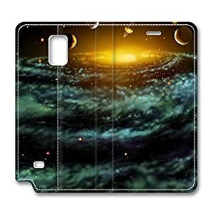 Samsung Galaxy Note 4 Leather Cases - NEW DESIGN LEATHER / Planets 3 Folding Leather Folio Samsung Galaxy Note 4 Stand Case / Slim Fit Skin Cover for Samsung Galaxy Note 4