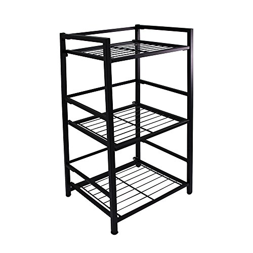 Flipshelf-Folding Metal Bookcase-Small Space Solution-No Assembly-Home, Kitchen, Bathroom And Office Shelving-Black, 3…
