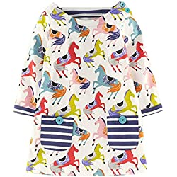 Girls Cotton Longsleeve Pocket Dresses Special Occasion Cartoon Print by Fiream(1035TZ,4T/4-5YRS)