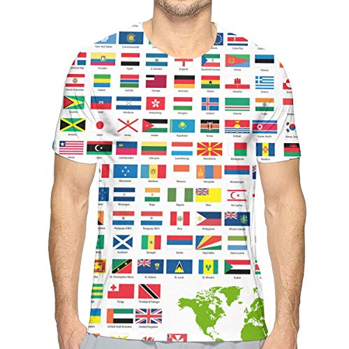 - NICOKEE 3D T-Shirt, Flags of The World Countrys Cool Graphic T Shirt for Mens/Boys/Youth