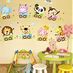 TOTOMO #W107 Cute Animal Train Wall Decal Sticker for Nursery and Kids Room