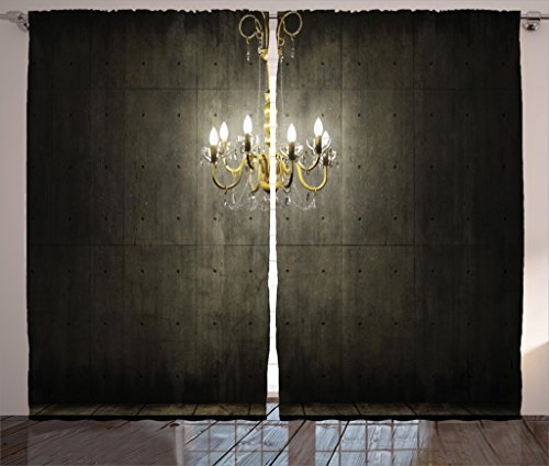 Ambesonne Grunge Home Decor Curtains by, Classic Golden Chandelier in a Dark Gothic Wooden Room Vintage Room Picture, Living Room Bedroom Decor, 2 Panel Set, 108 W X 84 L Inches, Golden Olive Green