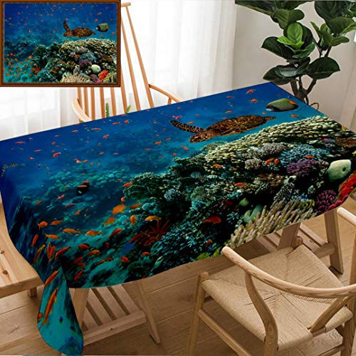 Unique Custom Design Cotton and Linen Blend Tablecloth Ocean Decor Exotic Fish and Turtle in Fresh Water On Stony Corals Bio Diversity Wild Life Tablecovers for Rectangle Tables, Small Size 48