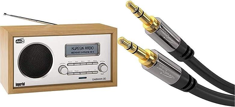 DAB+//DAB//UKW, Aux In, inkl. Netzteil Audio /& Klinkenkabel 3.5mm 0,5m Imperial 22-130-00 Dabman 30 Digitalradio schwarz braun /& KabelDirekt Aux Kabel