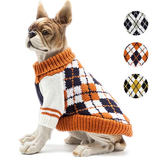 BOBIBI Dog Sweater of The Diamond Plaid Pet Cat Winter Knitwear Warm Clothes,Orange,Medium