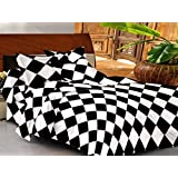 Casa Basic 144 Thread Count Double Bedsheet With 2 Pillow Cover-Black & White…