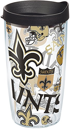 (Tervis 1271079 NFL New Orleans Saints All Over Tumbler with Wrap and Black Lid 16oz, Clear )
