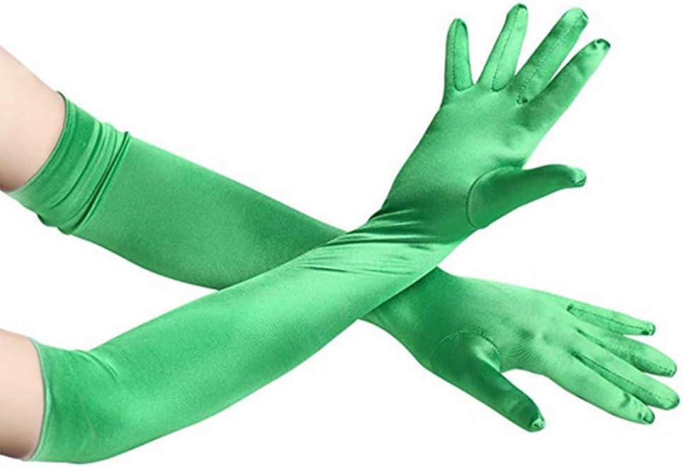 Hilai 1 Paar 48cm Frauen Elegante Opera Lange Satin Handschuhe Bankett Hochzeit Abend Halloween-Abendkleid-Partei-Kost/üm Handschuhe Dunkelgr/ün