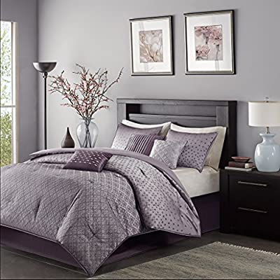 Madison Park Biloxi King Size Bed Comforter Set Bed in A Bag - Purple, Geometric – 7 Pieces Bedding Sets – Ultra Soft Microfiber Bedroom Comforters - Set includes: 1 comforter, 2 King shams, 1 bed skirt, 3 decorative pillows Cover: 100Percent polyester filling: 100Percent polyester Machine washable - comforter-sets, bedroom-sheets-comforters, bedroom - 51oI%2B45 %2B%2BL. SS400  -