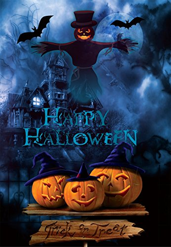 Laeacco Vinyl Backdrop 5x7FT Photography Background Happy Halloween Haunted House Ghost Pumpkin Theme Kid Party Background 1.5(W) x2.2(H) m Backdrop for Video Photo Studio Props ()