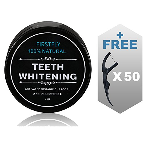 Price comparison product image Tooth Whitener, FirstFly Teeth Whitening Activated Charcoal Powder Natural Organic Bamboo Toothpaste Whitens Stained Teeth (Black)
