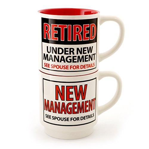 Enesco 4056383 Under New Management Stoneware Mug Set, 12 oz, Red
