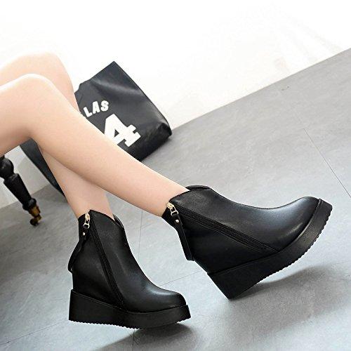 KHSKX-Die Neue Herbst Und Winter Hohe Steigung Ferse Stiefel Hochhackigen Stiefel Hat Martin Weibliche Stiefel Koreanische Edition Thirty-seven