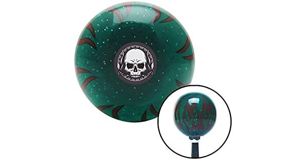 Decorative Skull Green Flame Metal Flake with M16 x 1.5 Insert American Shifter 300815 Shift Knob