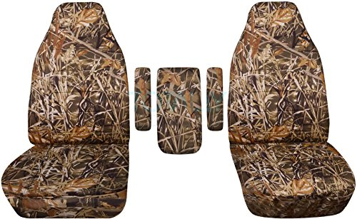 Totally Covers Fits 1999-2001 Ford F-150 F-250 F-350 Camo Truck Captains Chairs Seat Covers with 3 Armrest Covers (One per Seat + Center): Wetland Camouflage (16 Prints) 2000 F-Series F150 - F350 Camo