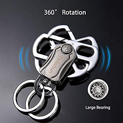 Scribing Knife Mobile Phone Holder Car Keychain for Men and Women with 2 Rings,Used as Bottle Opener Rotating Gyroscope(Alloy)