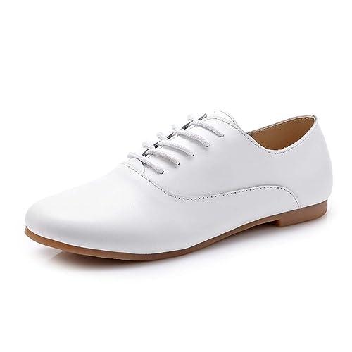 Mocasines de Pisos de Cuero de Mujer Oxford Zapatos Bailarina Encaje hasta Zapatos Mocasines Mujeres Zapatos de Cuero: Amazon.es: Zapatos y complementos