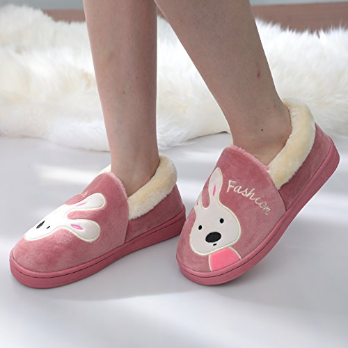 Y-Hui femmina cotone invernale pantofole amanti pacchetto con ampia base nella casa arredamento caldo Scarpe pantofole,26 (Fit per 37-38 piedi),rosso pasta di fagioli