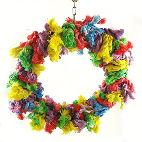 S-LINE Birds Parrot Cotton Round Swing Large Size Chews Rope Rings Hanging Cage Toys for African Greys Mini Macaws Small Cockatoos by Evursua